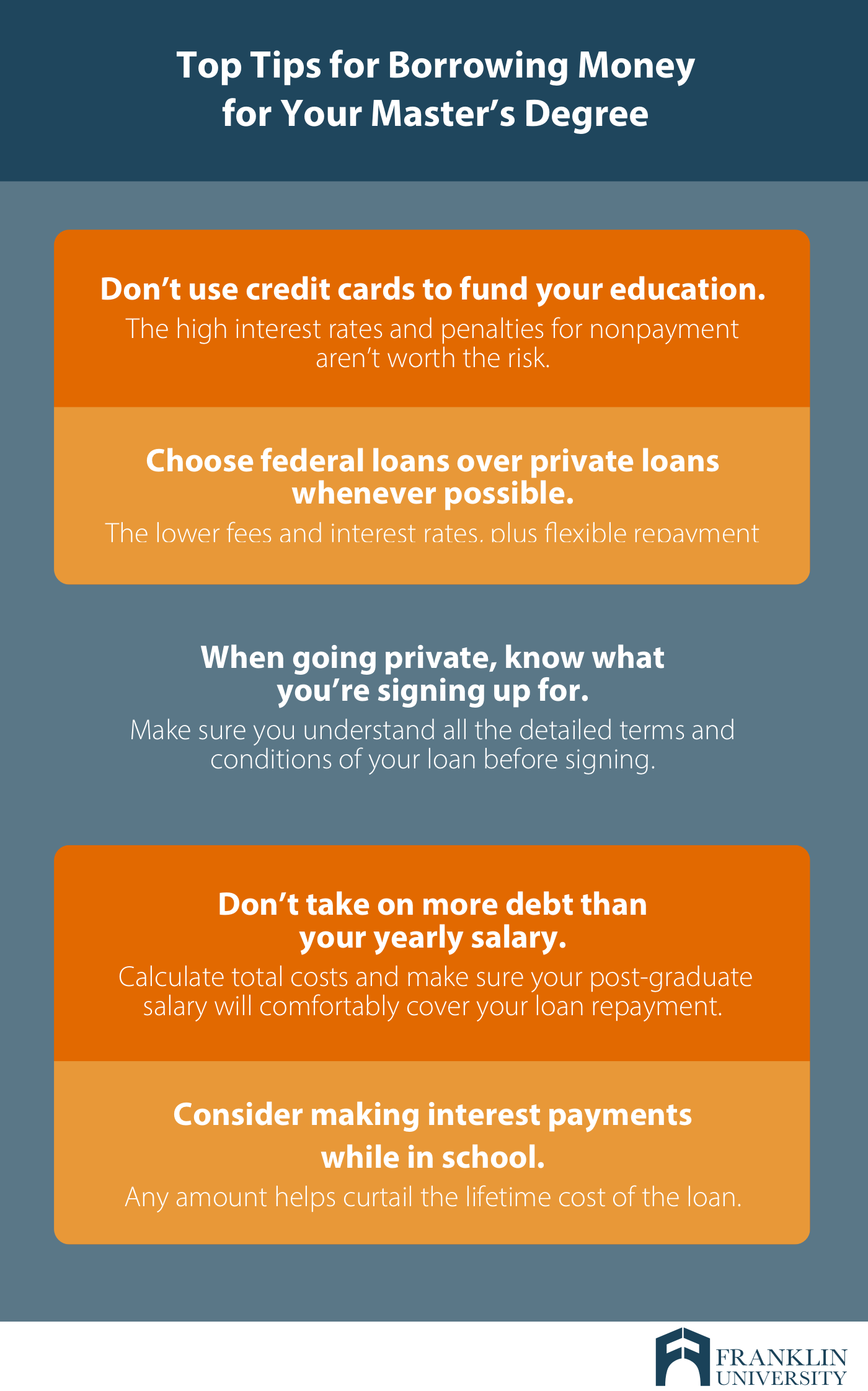 graphic describing the top tips for borrowing money for your masters degree