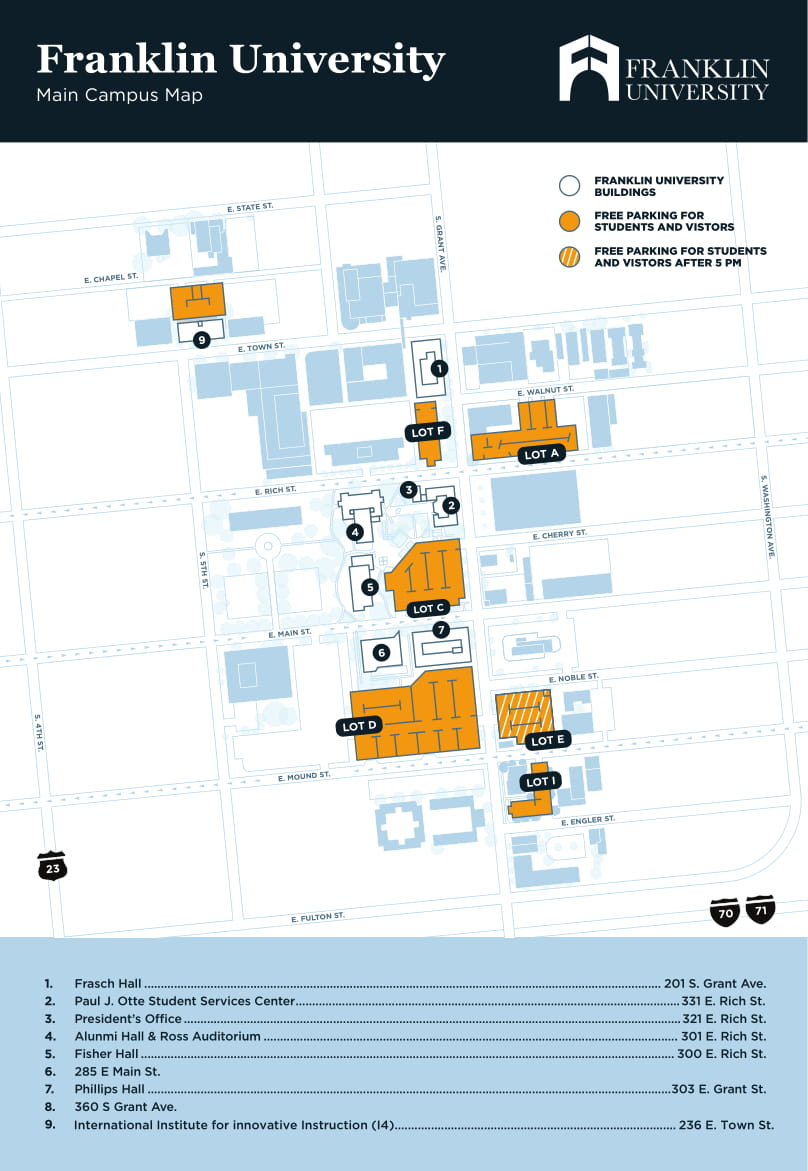 franklin university campus map Student Parking Policy Franklin University franklin university campus map