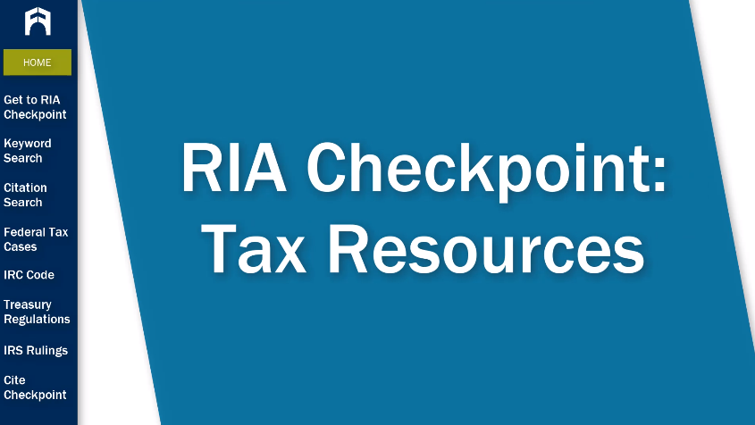 RIA Checkpoint: Tax Resources tutorial