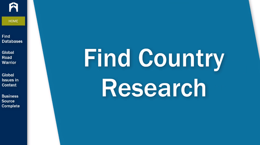 Find Country Research tutorial