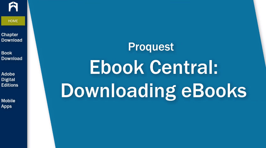 Ebook Central: Downloading eBooks tutorial